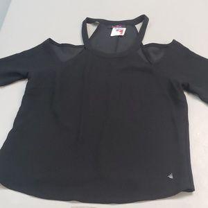 XL Lorena Rose black cold shoulder shirt